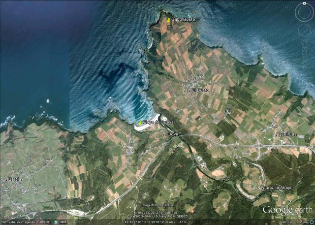 Mapa playa de Cueva en Valdés (Asturias)