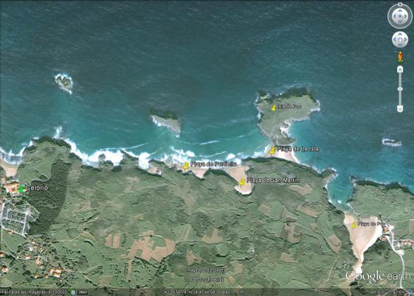 Mapa Playas de Portiellu, San Martin, La Isla en Llanes