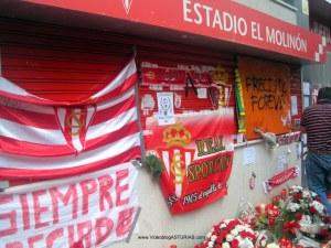 Homenaje a Preciado de aficion Sporting: Banderas