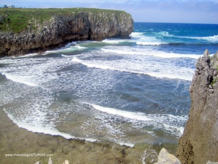 Playa de Guadamía: Nivel costa en bajamar