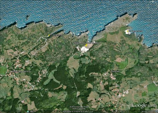 Mapa del entorno de playa de  Cuevas de Mar en  Llanes