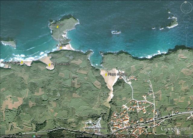 Mapa playa de Poo, en Llanes
