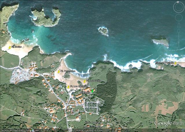 Mapa Playas Celorio en Llanes: Palombina, Las Camaras, Los Curas