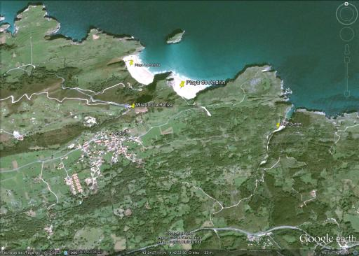 Mapa de playa de Andrin, en Llanes