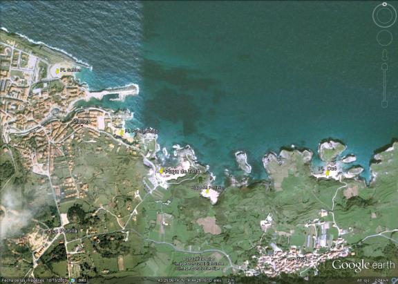 Mapa playa de Toró, en Llanes