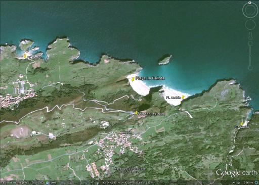 Mapa Playa Ballota en Llanes
